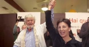 Beiras y Yolanda Díaz celebran el éxito electoral.