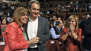 Zapatero saluda a Susana Díaz en el Congreso del PSOE-A, celebrado este fin de semana, que ha elegido a Díaz como secretaria general de los socialistas andaluces.